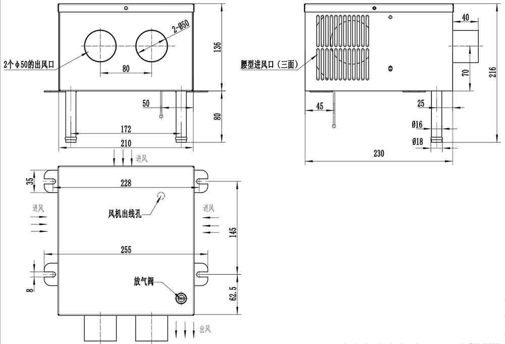 415-25002强制出风盒式散热器